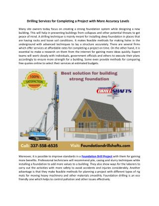 Drilling Services for Completing a Project with More Accuracy Levels