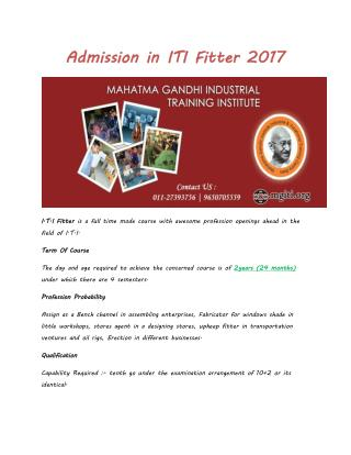Admission in ITI Fitter 2017