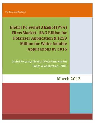 Global Polyvinyl Alcohol (PVA) Films Market - $6.3 Billion for Polarizer Application & $259 Million for Water Soluble Ap