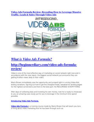 Video Ads Formula review - EXCLUSIVE bonus of Video Ads Formula