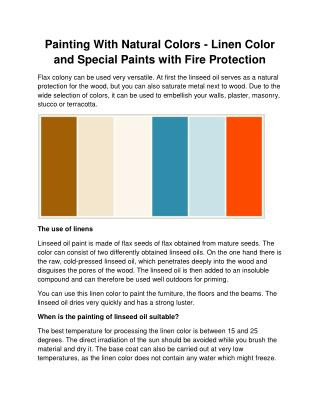 Painting With Natural Colors - Linen Color and Special Paints with Fire Protection