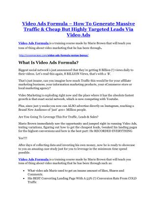 Video Ads Formula review-SECRETS of Video Ads Formula and $16800 BONUS