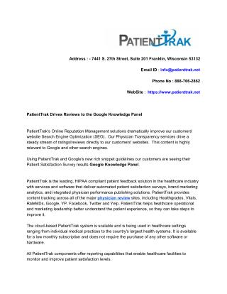 PatientTrak Drives Reviews to the Google Knowledge Panel