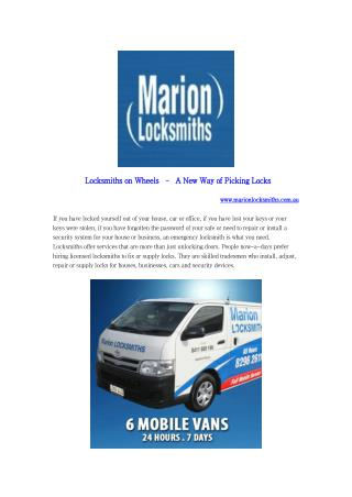 Locksmiths on Wheels – A New Way of Picking Locks