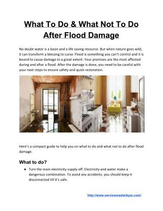 What To Do & What Not To Do After Flood Damage
