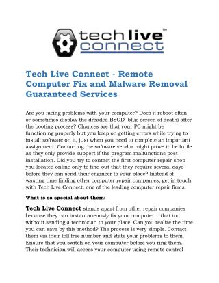 Tech Live Connect Remote Login