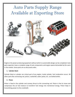 Auto Parts Supply Range Available at Exporting Store