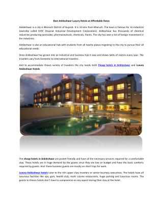 Luxury Ankleshwar hotels