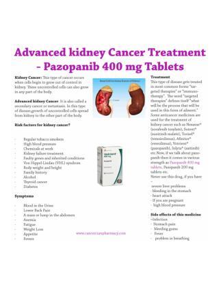 Buy Pazopanib 400 mg and save upto 11% on lowest price