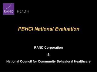 PBHCI National Evaluation