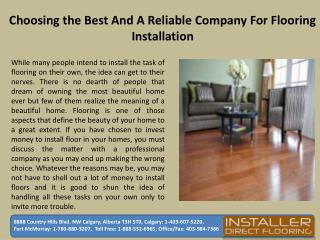 Choosing the Best and A Reliable Company for Flooring Installation