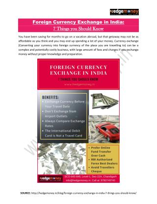 Foreign Currency Exchange in India – 7 Things you Should Know
