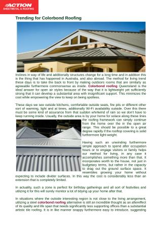 Trending for Colorbond Roofing