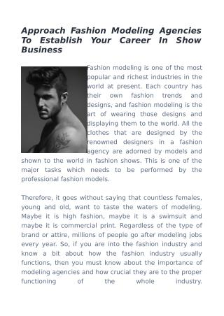 Approach Fashion Modeling Agencies To Establish Your Career In Show Business
