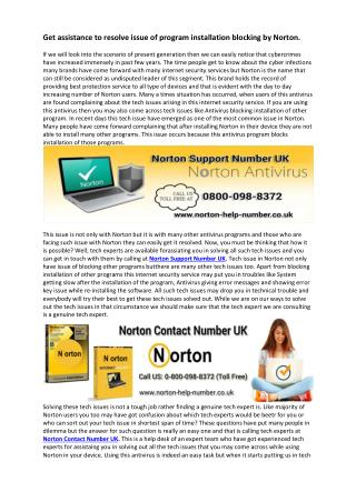 Norton Contact Number 0800-098-8372 Norton Support Number UK