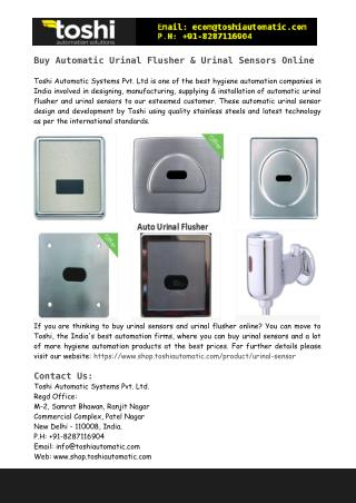 Buy Automatic Urinal Flusher & Urinal Sensors Online
