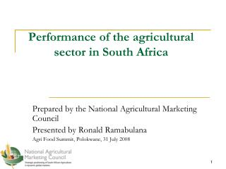 Performance of the agricultural sector in South Africa