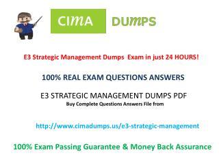 Pass CIMA E3 PDF Dumps Exam - Cimadumps.us