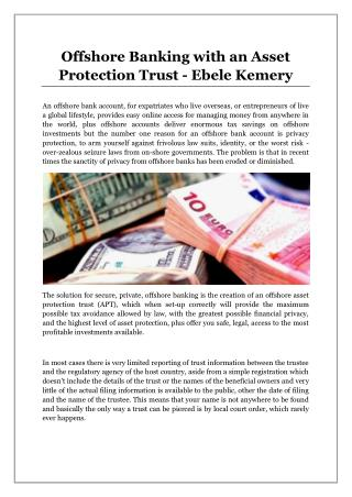 Offshore Banking with an Asset Protection Trust - Ebele Kemery