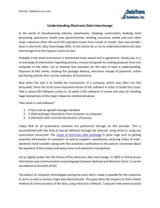 Understanding Electronic Data Interchange