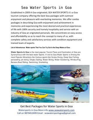 watersports in Goa, goa water sports packages, best watersports in goa, watersports in goa prices