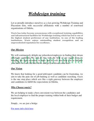 Best Webdesign Training In Odisha