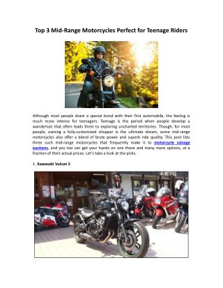 Top 3 Mid-Range Motorcycles Perfect for Teenage Riders