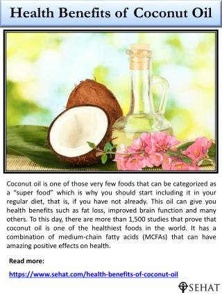 Health Benefits of Coconut Oil | Sehat