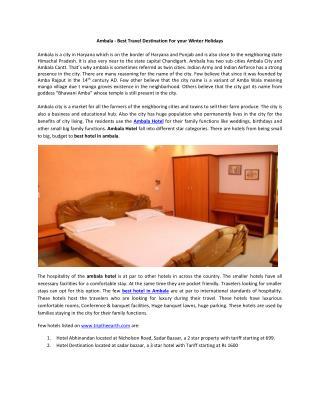 best hotel in ambala