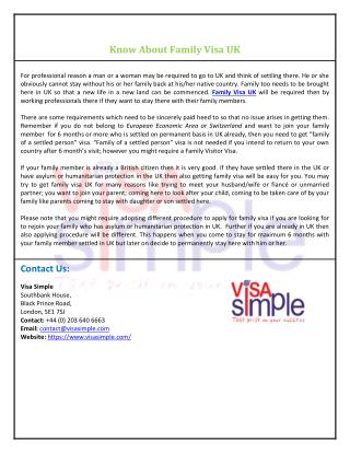 Know About Family Visa UK