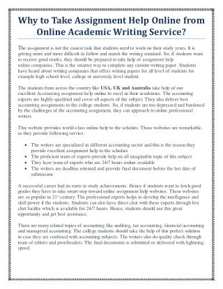 Why to take Assignment Help Online from online academic writing service