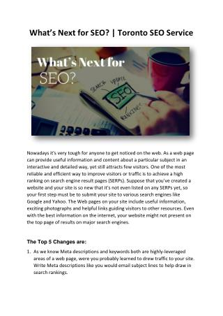 What's Next for SEO? | Toronto SEO Service