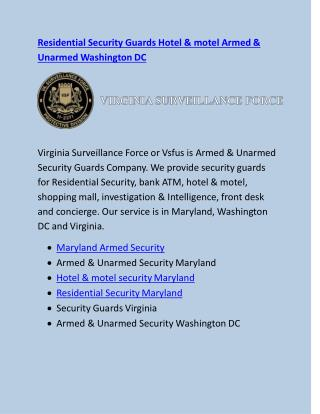 Residential Security Guards Hotel & motel Armed & Unarmed Washington DC
