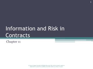 Information and Risk in Contracts