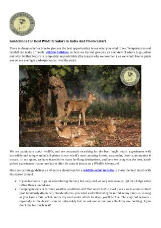 Guidelines For Best Wildlife Safari In India And Photo Safari