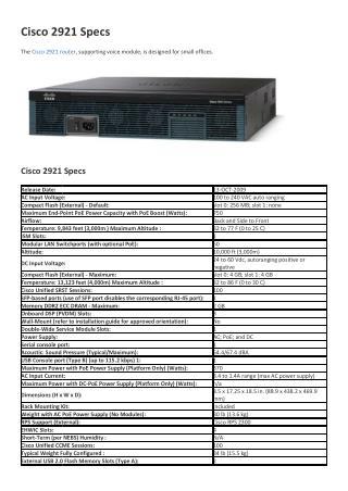 Cisco 2921 Specs