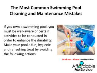 The Most Common Swimming Pool Cleaning and Maintenance Mistakes