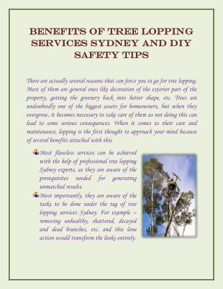 Benefits of Tree Lopping Services Sydney and DIY Safety Tips
