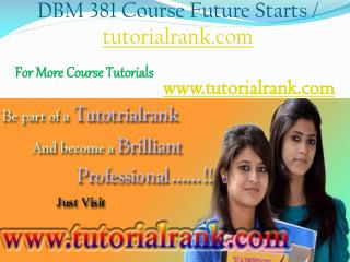 DBM 381 Course Experience Tradition / tutorialrank.com