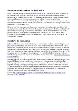 Best Accommodations And Tour Services To Plan Your Holidays In Sri Lanka