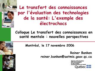 Le transfert des connaissances par l valuation des technologies de la sant : Lexemple des  lectrochocs