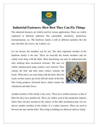 Industrial Fasteners Manufacturers Delhi, Suppliers India