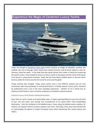 Centerton Luxury Yachts