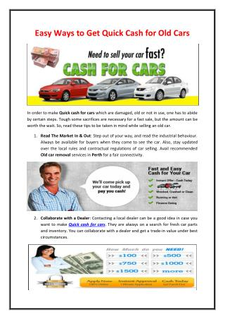 Easy Ways to Get Quick Cash for Old Cars