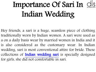 Importance Of Sari In Indian Wedding