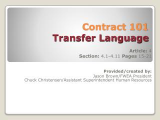 Contract 101 Transfer Language