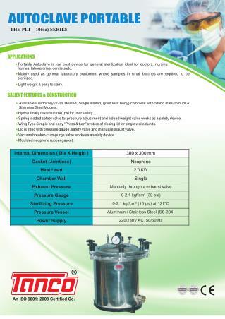 Portable Sterilizer | Manufacturer | Tanco Autoclave