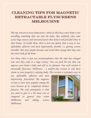 Tips for Magnetic Retractable Flyscreens Melbourne