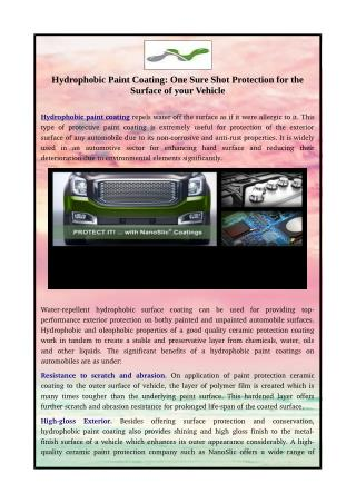 Hydrophobic Paint Coating: One Sure Shot Protection for the Surface of your Vehicle
