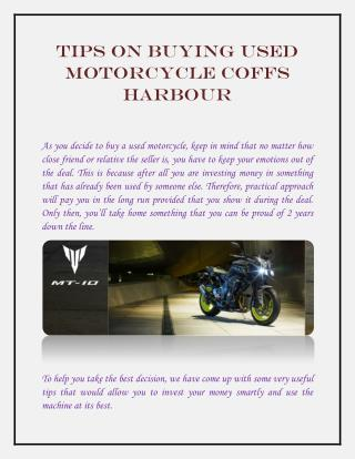 Tips on Buying Used Motorcycle Coffs Harbour